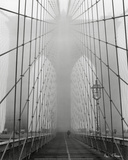 Foggy Day on Brooklyn Bridge Posters by Henri Silberman