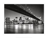Nueva York, Nueva York, silueta de Manhattan Lámina por Henri Silberman