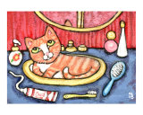 Tabby Cat In Bathroom Sink Giclee Print by Jamie Wogan Edwards
