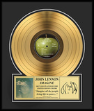 "John Lennon - ""Imagine"" Gold LP 額入りメモラビリア"