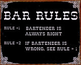 Bar Rules Placa de lata