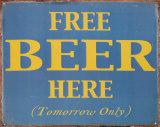 ビール無料 ブリキ看板