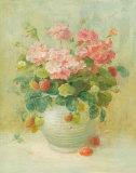 Pink Geraniums with Strawberries Affiches par Danhui Nai