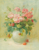 Pink Geraniums with Strawberries Prints by Danhui Nai