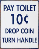 Pay Toilet Plaque en métal