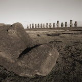 Row of Moai statues, Easter Island, Chile Photographic Print
