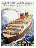 Cunard Line, Queen Elizabeth, Queen Mary Giclee Print by Walter Thomas