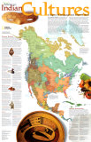 North American Indian Cultures Map - Reprodüksiyon