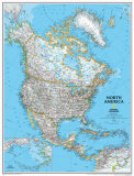 North America Political Map Kunstdruck