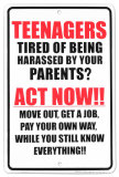 Teenagers Tin Sign