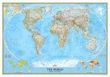 Mapa světa, politická mapa, National Geographic (text vangličtině) Plakát