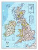 Karta över Storbritannien och Irland, engelska Poster