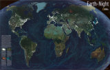 Earth At Night Map Plakater