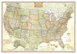 Politisk kart over USA, aktiv stil Posters