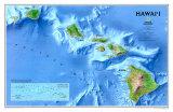 Mapa de Hawaii Pósters