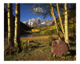 Maroon Bells, Aspen Trees &amp; Rock Photographic Print by Mike Norton