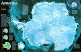 Antarctica Satellite Map Poster