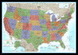 Carte politique des Etats-Unis, style décoratif Posters