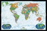 Politieke kaart van de wereld, decoratieve stijl Poster