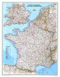 Mapa de Francia, Bélgica, y los Países Bajos Pósters