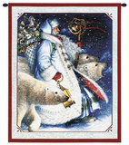 Santa and Polar Bears Wall Tapestry by Lynn Bywaters