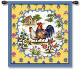 Roosters II Wall Tapestry