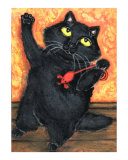 Black Cat With Mouse Toy Giclee Print by Jamie Wogan Edwards