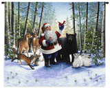 Santa in the Forest Wall Tapestry by Lynn Bywaters