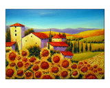Tuscan Houses and Sunflowers Field Near Marina di Pisa Reproduction procédé giclée par Manuela Valenti