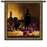 Wine Bottle with Grapes Wall Tapestry by Loran Speck