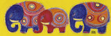 Family of Elephants in Yellow Prints by Sophie Jourdan