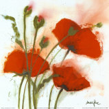 Poppies in the Wind I Posters af Marthe