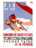 Czech Downhill Snow Ski Giclee Print by  Horak & Koutsky