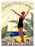 Roger Broders - Cote d'Azur, Le Soleil Toute l'Annee - Giclee Baskı
