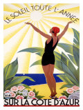 Cote d&#39;Azur, Le Soleil Toute l&#39;Annee Giclee Print by Roger Broders
