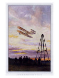 Wilbur Wright Aviation Biplane Giclee Print by A Serougart