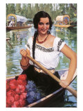 Señorita in Boat with Flowers Giclee Print