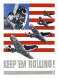 WWII, Keep 'Em Rolling P-39 Giclee Print