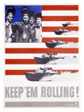 WWII, Keep 'Em Rolling PT Boat Giclee Print