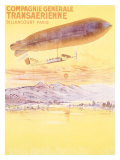 Billancourt to Paris by Dirigible Airship Giclee Print