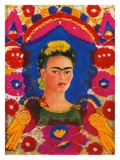 Self-Portrait with Flowers Lámina giclée por Frida Kahlo