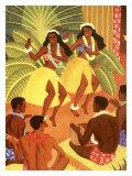 Hawaii, Wahine Hula Girls Reproduction procédé giclée