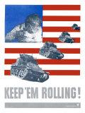WWII, Keep 'Em Rolling Tank Giclee Print