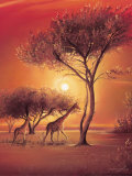Sunset with Giraffes Art by Leon Wells