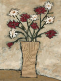 Red Flowers in a Vase Poster by Judi Bagnato