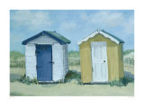 Two Beach Huts Prints by Jane Hewlett