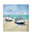 Two Moored Boats Prints by Jane Hewlett