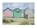 Beach Huts Print by Jane Hewlett