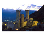 Pacentro medieval castle at dusk Photographic Print by Giovanni Lattanzi