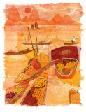 Sampans at Sunset Posters by Liz Myhill